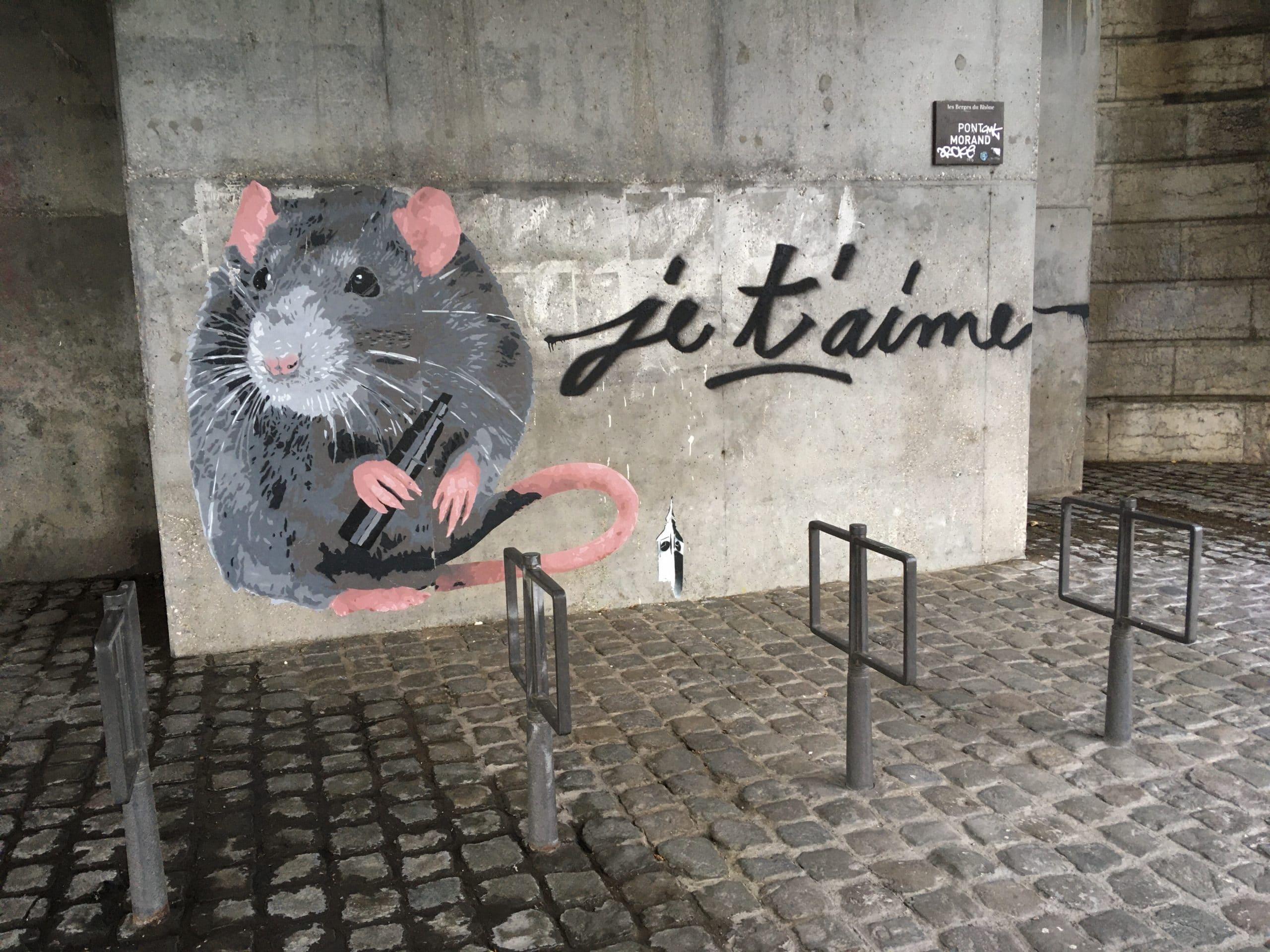 Je t'aime rat street art